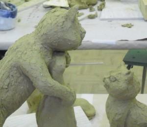 08 Keramikkurs mit Andreas Hinder - Katzenmodelle aus Keramik - verspielt