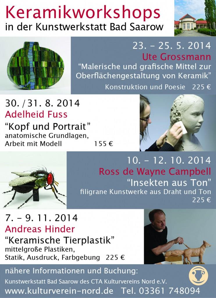 Kulturverein Nord Keramikworkshops / Keramikkurse / Töpferkurse 2014 - Ute Grossmann, Adelheid Fuss, Ross de Wayne Campbell & Andreas Hinder