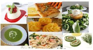 Obst und Gemüse, Fisch und Fleisch, Kräuter und Gewürze warten, um ein passendes 4-Gänge-Menü zu gestalten.